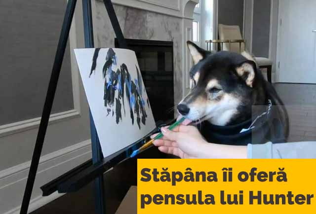 câine care pictează